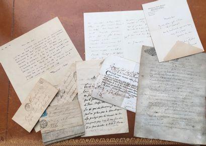 Ensemble de cinq lettres autographes et documenbts...