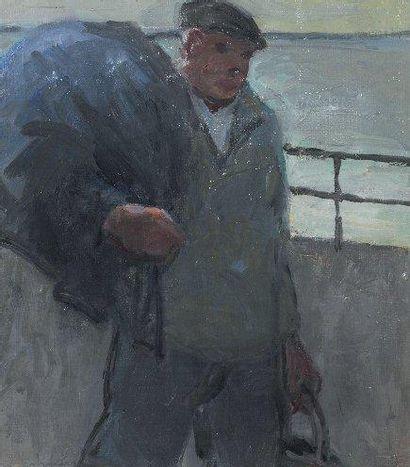 """Henry Maurice CAHOURS (1889-1974) """"Le retour du pêcheur"""" Huile sur toile marouflée..."""