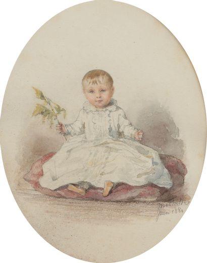 École française vers 1880. Portrait d'Odile...