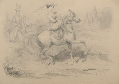 L. MOREL (XIXe siècle). Amazone. Mine de...