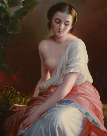 Dans le goût du XIXe siècle. Femme à la rivière....