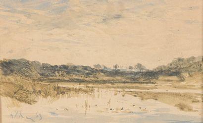 Henri Joseph HARPIGNIES (1819-1916). L'étang...