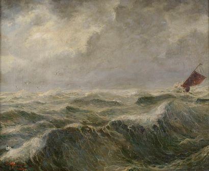 S. MALLET (XIXe siècle). Navire dans la tempête....