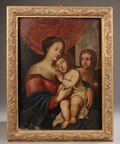 Ecole du XVIIIe siècle. Vierge à l'enfant...