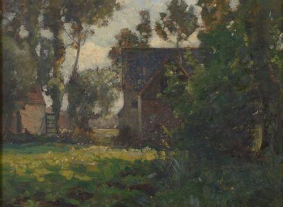 Adrien DEMONT (1851-1928). Paysage à la ferme....