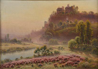 Gaston ANGLADE (1854-1919). Paysage de colline...