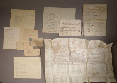Ensemble de cinq lettres autographes et documents...