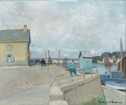 Henry Maurice CAHOURS (Paris, 1889 - Cagnes-sur-Mer, 1974) Personnages sur le quai...