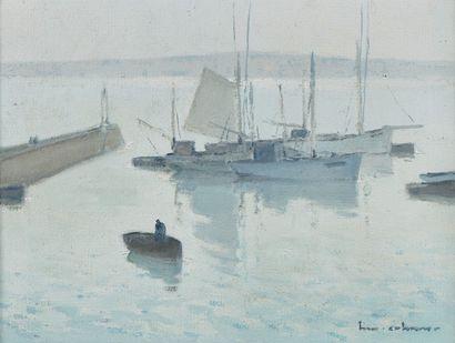 Henry Maurice CAHOURS (Paris, 1889 - Cagnes-sur-Mer, 1974) Bateaux au mouillage près...