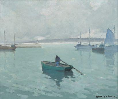 Henry Maurice CAHOURS (Paris, 1889 - Cagnes-sur-Mer, 1974) Marin dans sa barque dans...