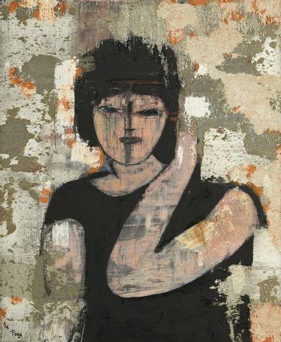 LEPAGE (XXe siècle). Femme en robe noire.Technique...