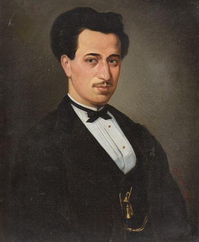 A. BERGER. Portrait d'homme au noeud papillon....