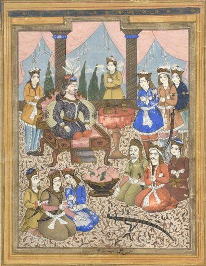Miniature figurant une scène de palais (mouillures,...