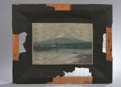 HAKUREI. Le Mont Fuji. Soie brodée.
