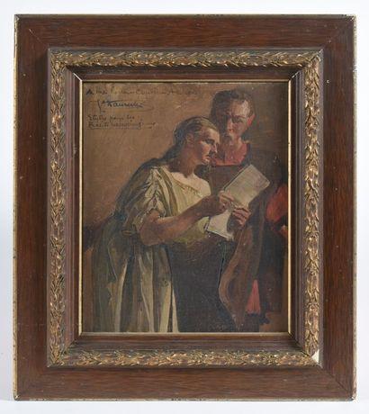 Jean Paul LAURENS (1838-1921). Femme lisant...