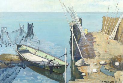 P. MANCIE (XXème siècle). Barque à quai....