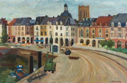 Claude BRETON (XXe siècle). Quai en ville...