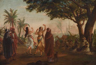 Ecole orientaliste du XIXe siècle. Danse...