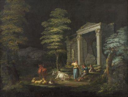 École italienne du XVIIIe siècle. Bergers...