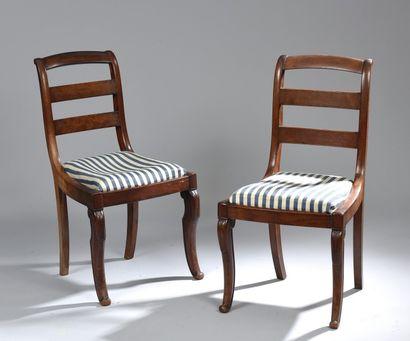 Suite de quatre chaises en acajou et placage...