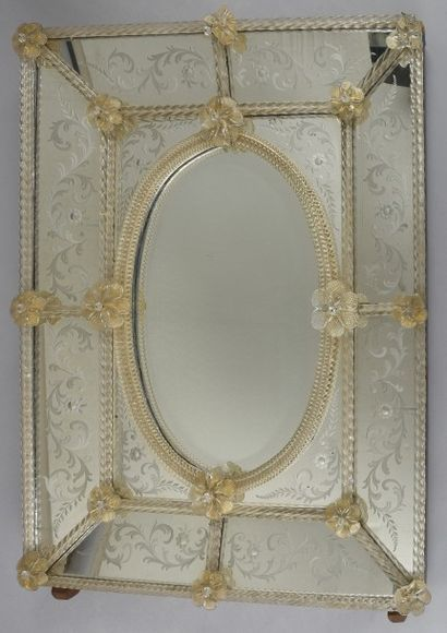 Miroir de Venise rectangulaire à décor de...