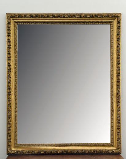 Grand miroir rectangulaire en bois et composition...