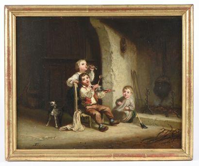 Eugène GABÉ (XIXe siècle). Enfants dansant...