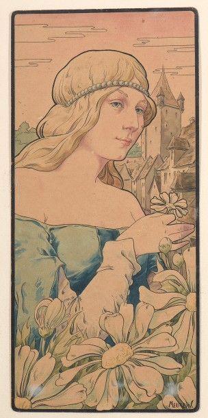 W. MEUREIN (XXème siècle), Femmes fleurs,...