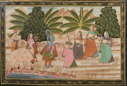 Sept gouaches indiennes, XIXème siècle.