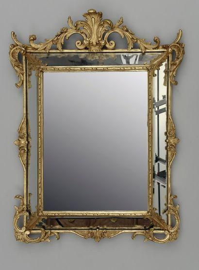 Grand miroir à profil inversé et doré (éclats,...