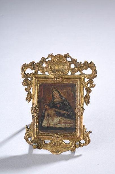 Miniature sur cuivre représentant une pieta...