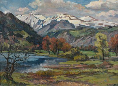 Ernest CHANONAT, Lac en basse montagne, huile...