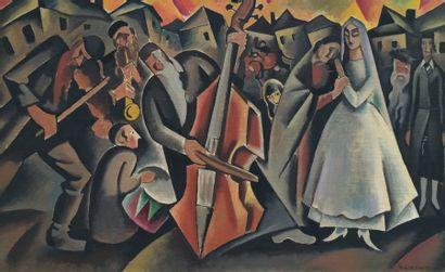Henryk BERLEWI (1894-1967). Le mariage. Huile...