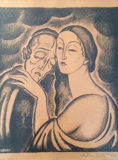 Henryk BERLEWI (1894-1967). Couple enlacé....