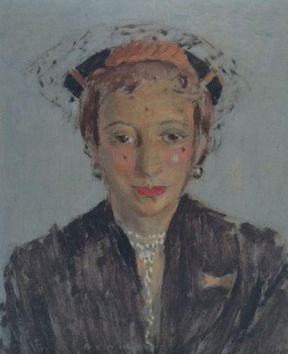 BENN (1905-1989). Portrait de femme à la...