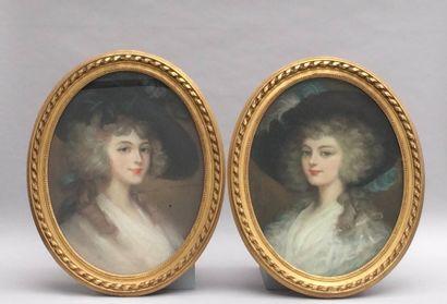 Ecole du XIXème siècle, portraits d'une jeune...