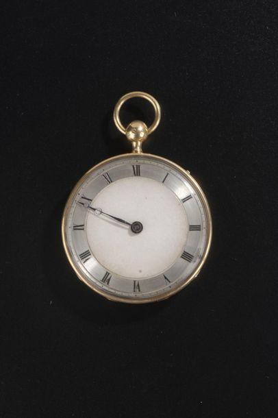 Grande montre de poche en or jaune 18k guilloché,...