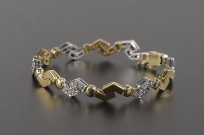 Bracelet articulé en or 18k de deux tons,...
