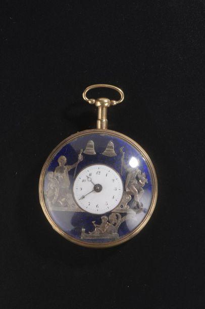 Grande montre de poche en or rose 18k à trois...
