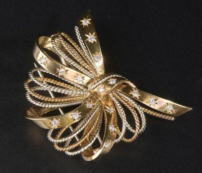 Broche ruban en or jaune 18k ornée de petites...