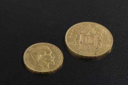 Deux pièces en or de 1859 : une de 100 francs...