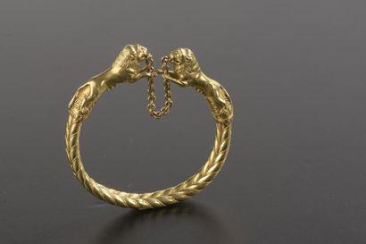 Bracelet semi-rigide en or jaune 18k à double...