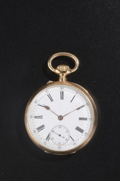 Chronomètre de gousset en or jaune uni 18k,...