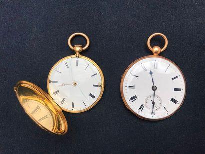 Deux montres de gousset en or jaune 18k guilloché,...