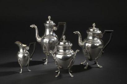 Service à thé et café en argent ciselé de...