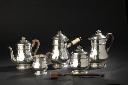 Service à thé, café et chocolat en argent...
