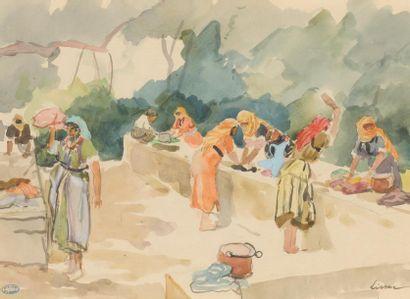 Pierre LISSAC (1878-1955). Les lavandières....