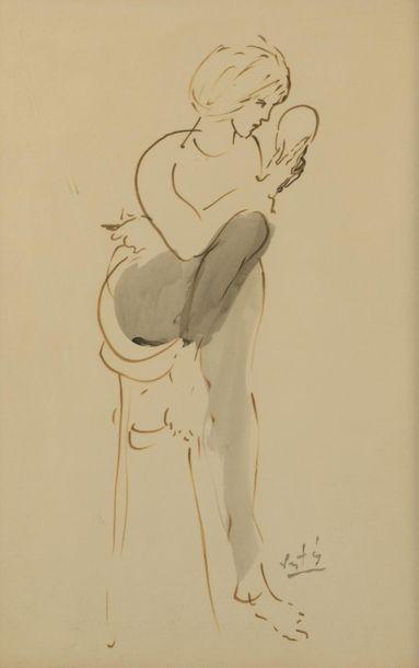 Marcel VERTÈS (1895-1961). Femme se regardant...