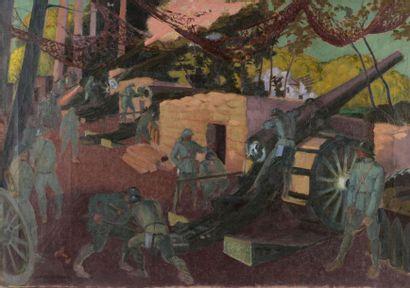 Maurice DENIS (1870-1943). Batterie de 155...