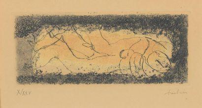 Jean FAUTRIER (1898-1964). Couple doré. Eau-forte...